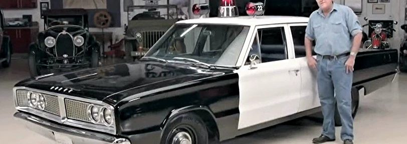 Jay Leno in a 1966 Dodge Coronet Patrol Car